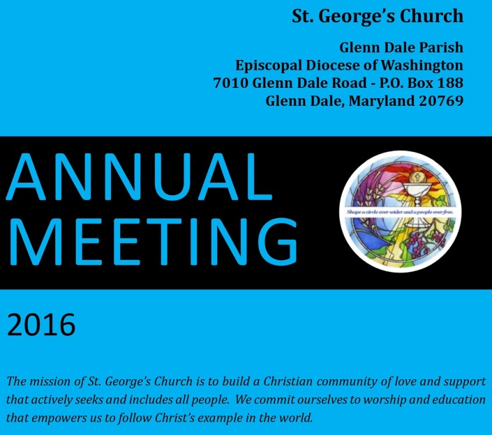 This Sunday, February 7, 2016: ONE 9:00 AM SERVICE & ANNUAL MEETING
