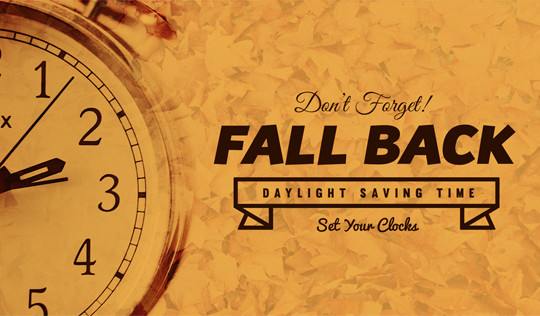Daylight Savings Time Ends November 6, 2016 at 2:00 AM